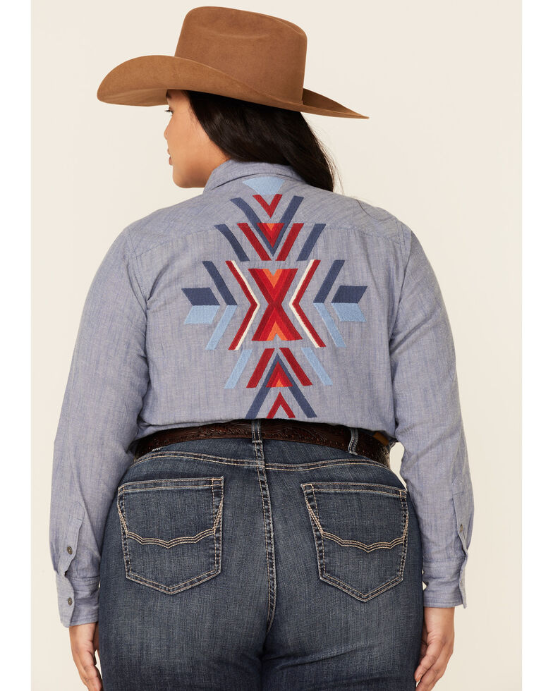 Ariat Women's R.E.A.L Chambray Billie Jean Embroidered Long Sleeve Button-Down Western Core Shirt - Plus, Blue, hi-res