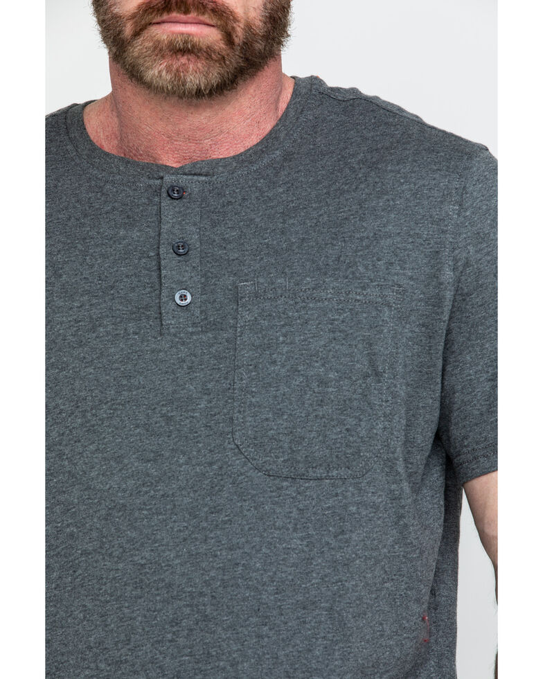 Hawx Men's Pocket Henley Short Sleeve Work T-Shirt , Charcoal, hi-res
