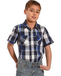 31a3ba69e Silver Toddler Boys Navy Plaid Short Sleeve Button Down Shirt, Navy, hi-res