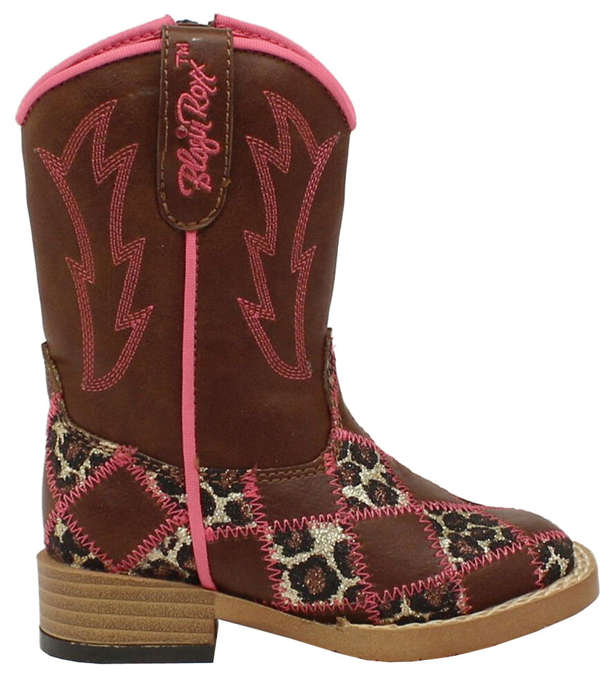 Blazin Roxx Toddler Girls' Miley Patchwork Boots - Square Toe, Brown, hi-res