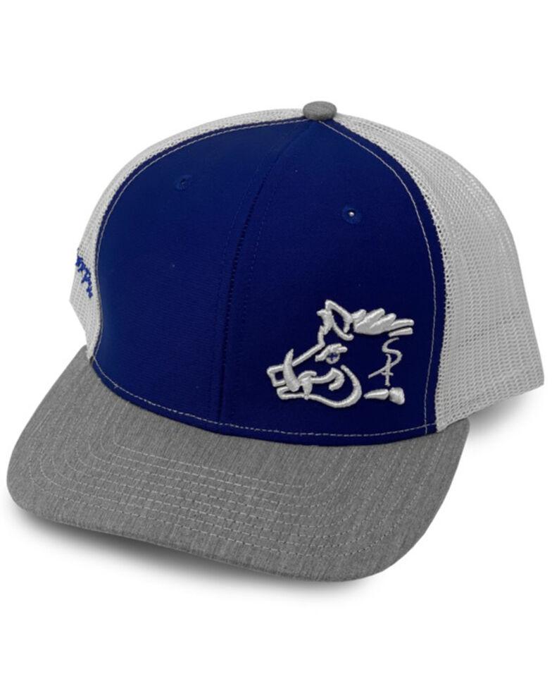 Oil Field Hats Men's Blue Tri Color Sniper Pig Mesh Ball Cap , Blue, hi-res