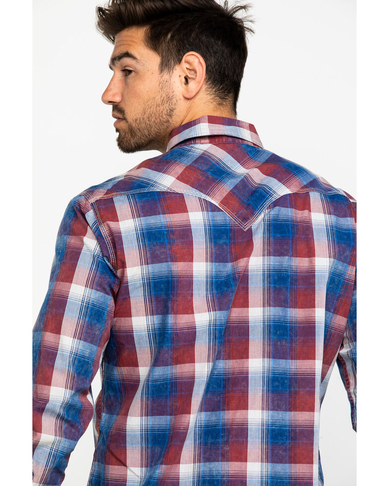 Rock & Roll Cowboy Men's Red Washed Plaid Long Sleeve Western Shirt , Red, hi-res