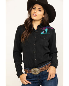 Rough Stock by Panhandle Women's Scenic Embroidered Long Sleeve Western Shirt , Black, hi-res