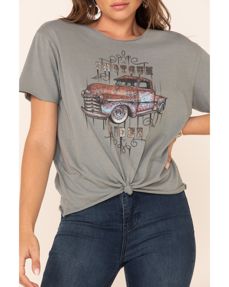 American Highway Women's Shotgun Rider Graphic Tee , Charcoal, hi-res