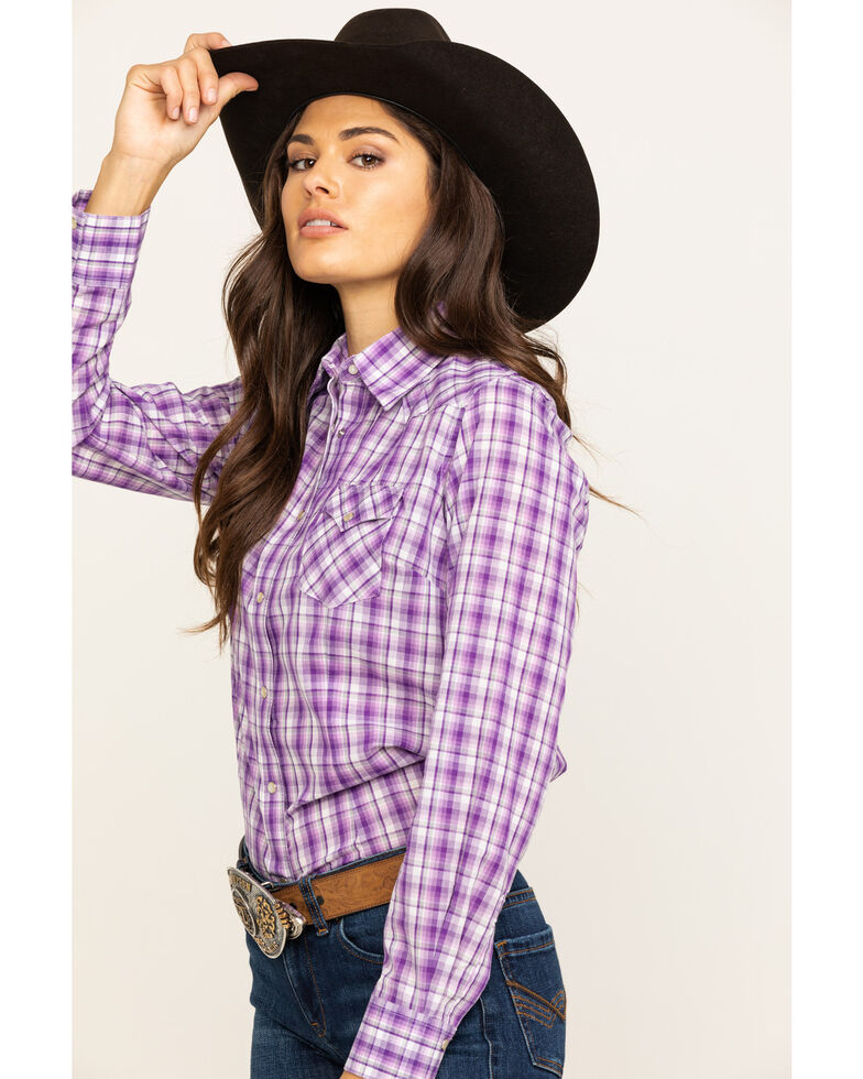 As Real As Wrangler Women's Purple Snap Long Sleeve Western Shirt , Purple, hi-res