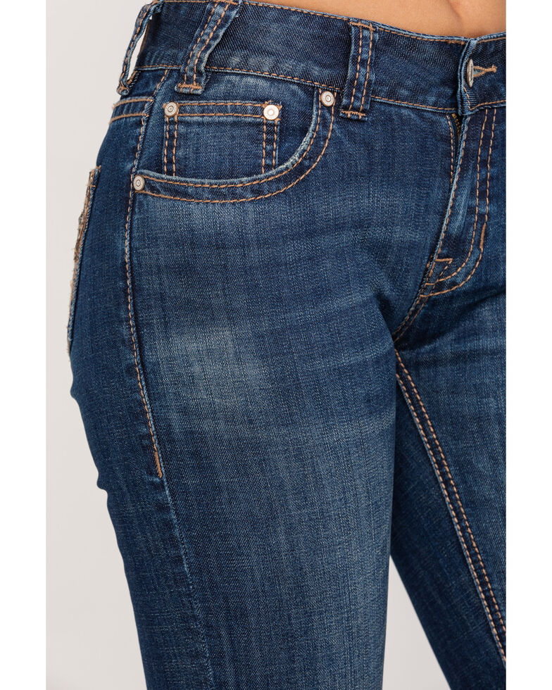Rock & Roll Cowgirl Women's Aztec Dark Wash Mid-Rise Boot Cut Jeans, Blue, hi-res