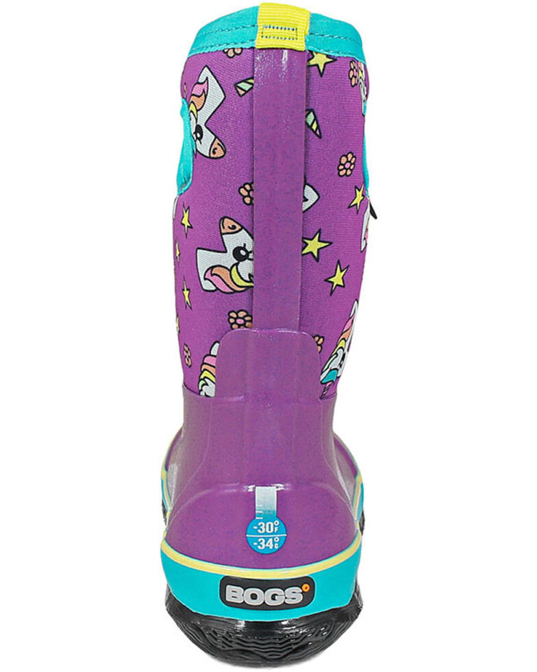 Bogs Girls' Classic Unicorn Rubber Boots - Round Toe, Pink, hi-res