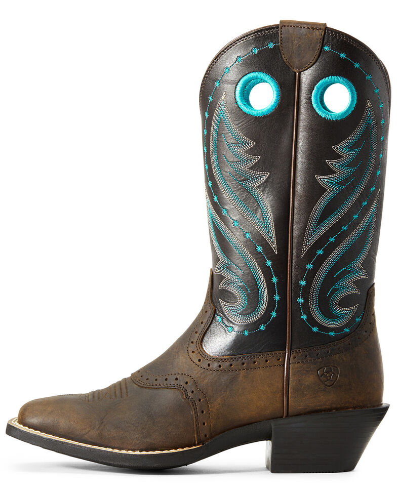 Ariat Women's Round Up Melrose Western Boots - Wide Square Toe, Brown, hi-res