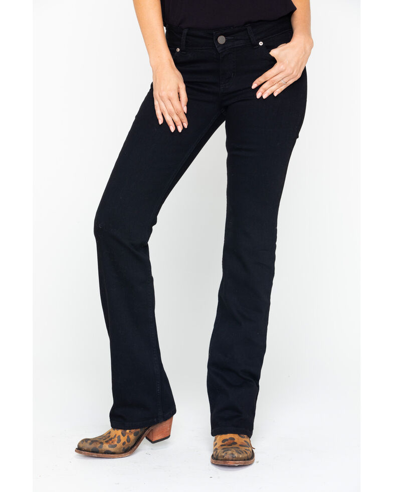 Wrangler Women's Mae Mid-Rise Boot Cut Jeans, Black, hi-res