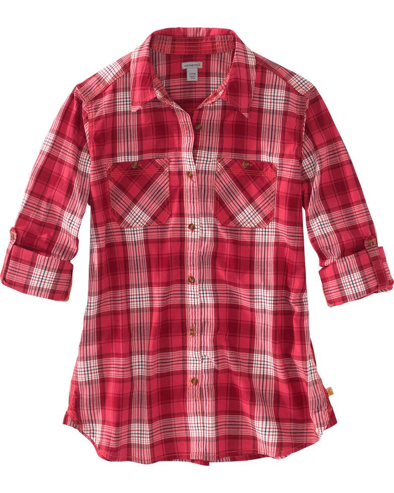 Carhartt Women's Huron Plaid Long Sleeve Shirt, Pink, hi-res