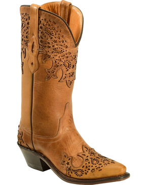 Old West Women's Two-Tone Brown Overlay Western Boots - Snip Toe  , Tan, hi-res