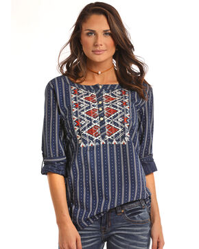 White Label by Panhandle Women's Aztec Embroidered Long Sleeve Top - Plus, Multi, hi-res
