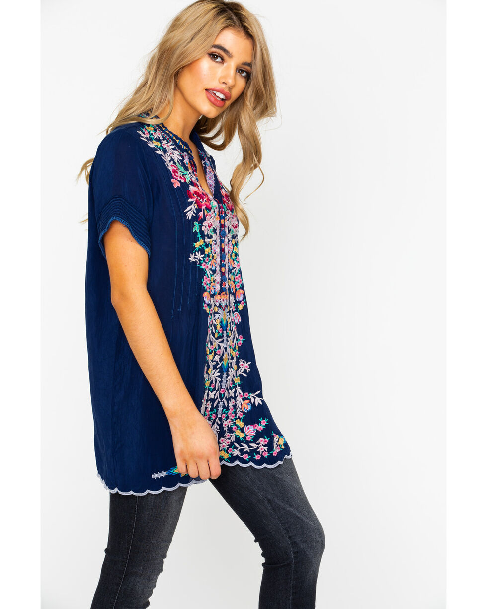 Johnny Was Women's Raina Pintuck Top , Navy, hi-res