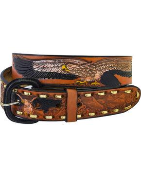 Western Express Men's Brown Leather Eagle Belt , Brown, hi-res