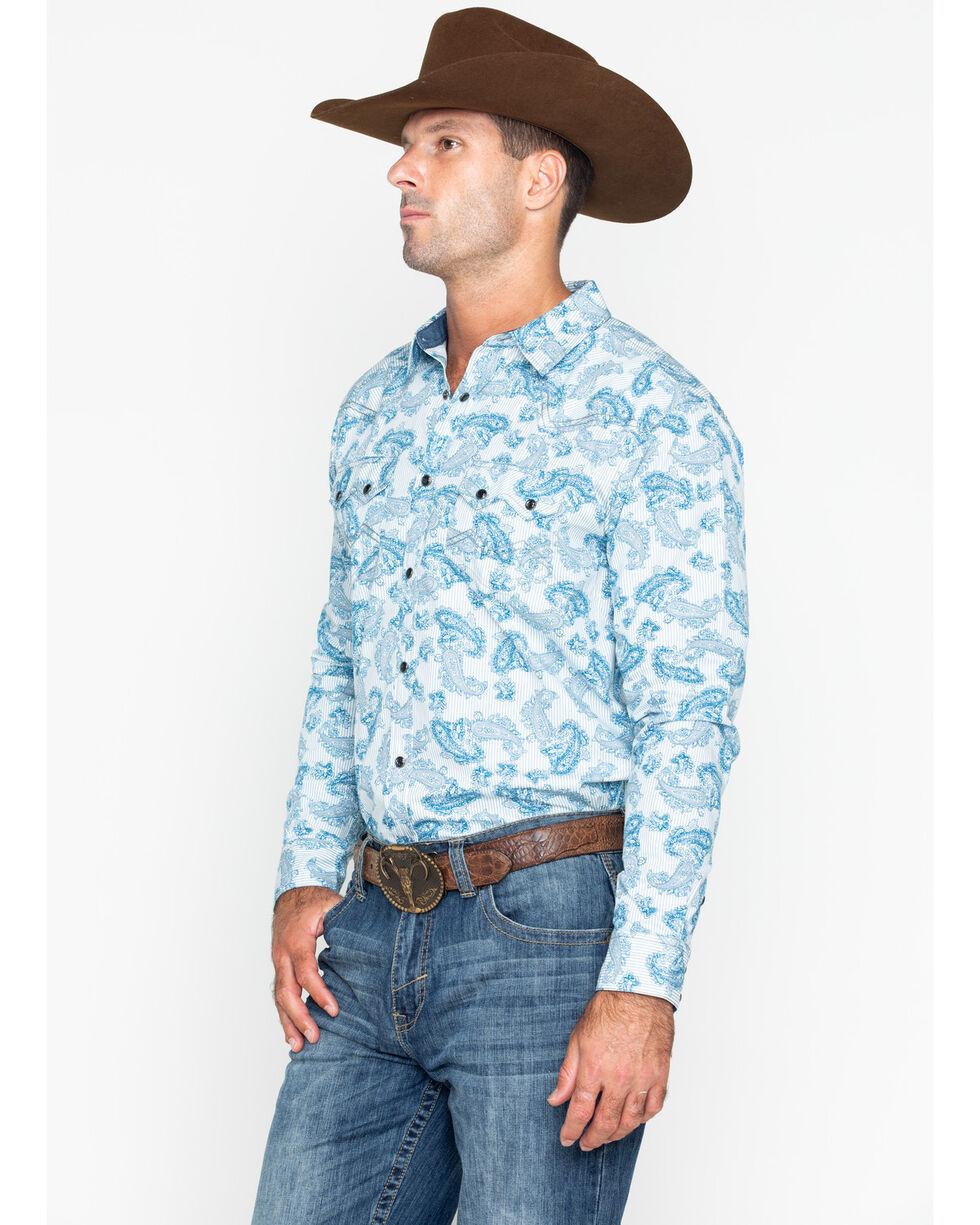 Cody James Men's Hootenanny Paisley Plaid Long Sleeve Western Shirt , Blue/white, hi-res