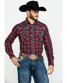 Rock 47 By Wrangler Men's Multi Plaid Long Sleeve Western Shirt , Red, hi-res