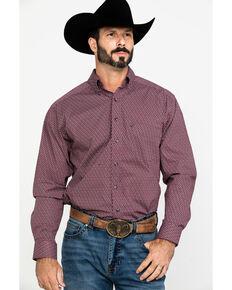 Tuf Cooper Men's Burgundy Stretch Geo Print Long Sleeve Western Shirt , Burgundy, hi-res