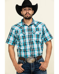 Cody James Men's Firefly Large Plaid Short Sleeve Western Shirt - Tall , Blue, hi-res