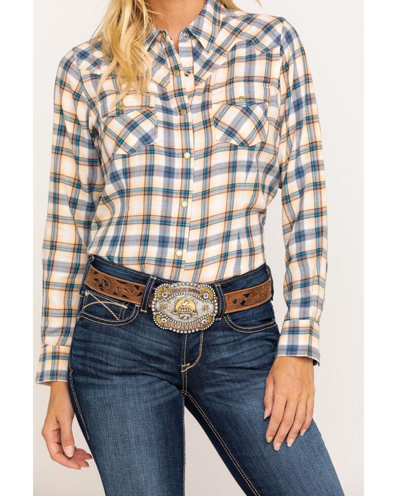 Ariat Women's R.E.A.L. Natural Plaid Long Sleeve Shirt , Multi, hi-res