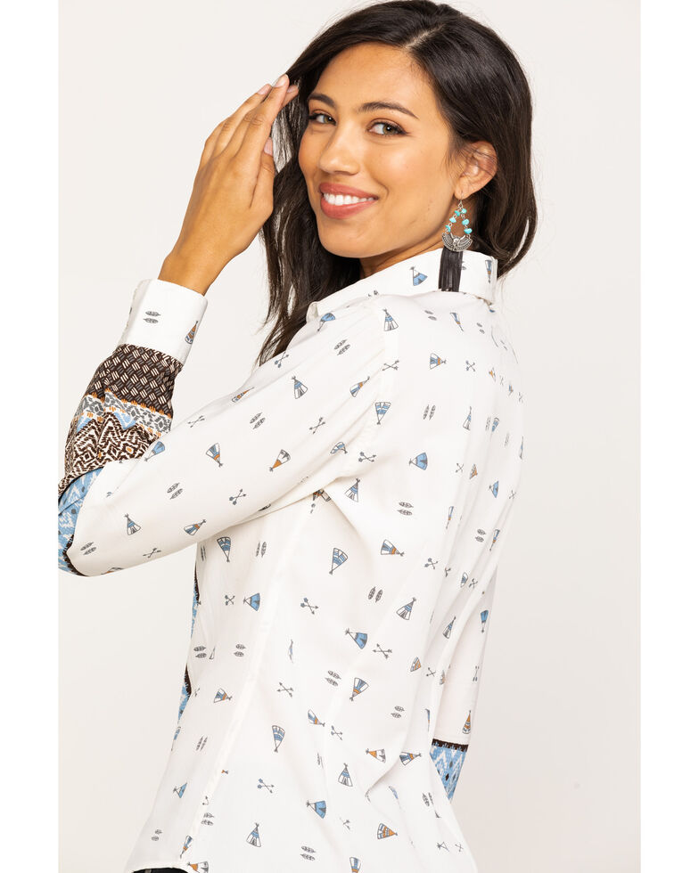 White Label by Panhandle Women's Crepe Border Print Long Sleeve Shirt, Natural, hi-res
