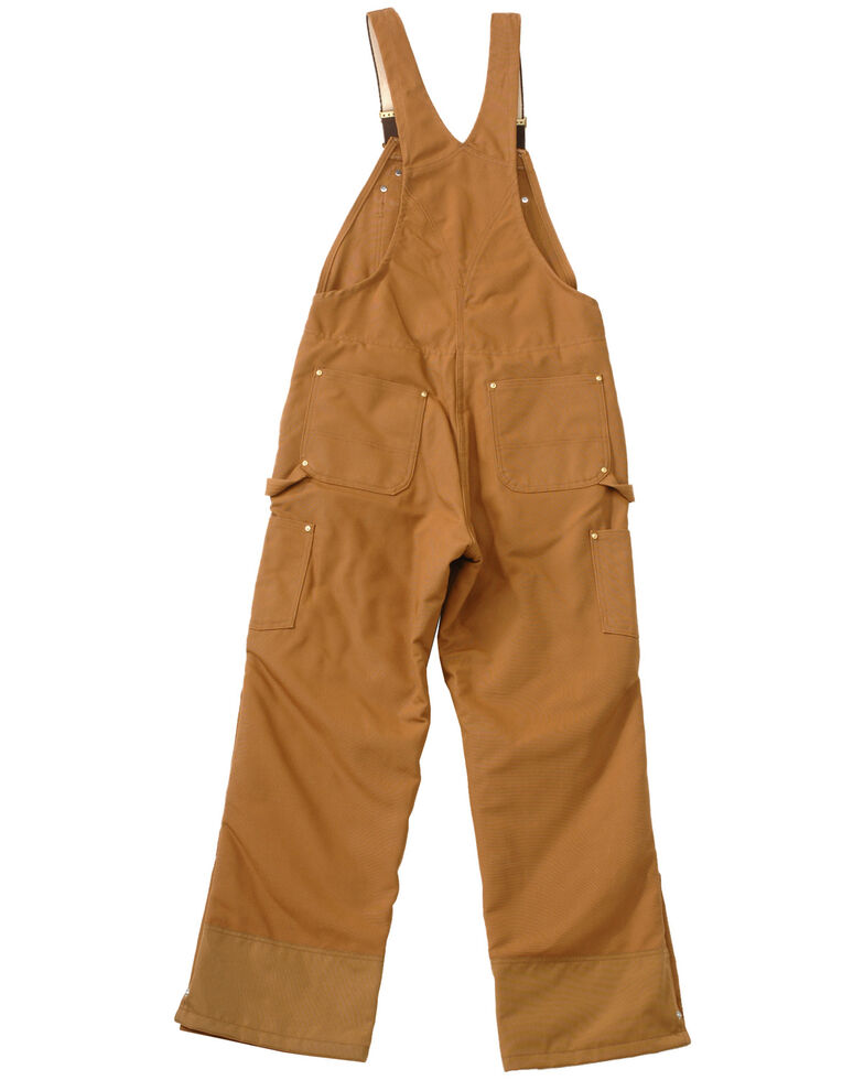 Carhartt Quilt Lined Zip To Thigh Bib Overalls - Big & Tall, Brown, hi-res