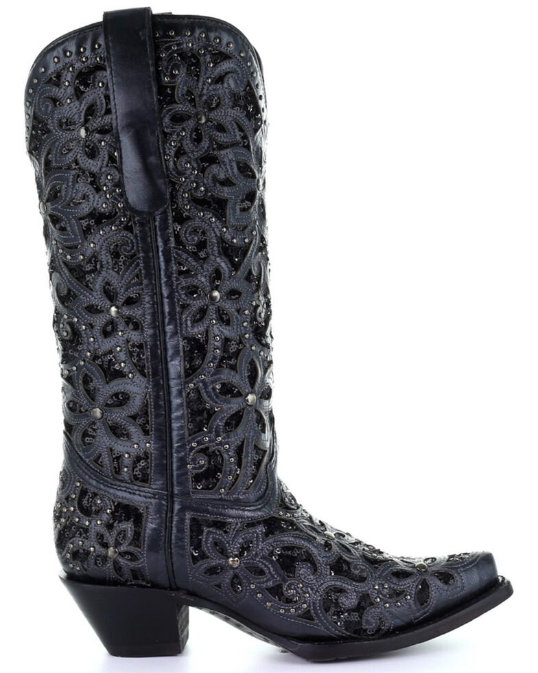 Corral Women's Black Inlay Embroidery Western Boots - Snip Toe, Black, hi-res