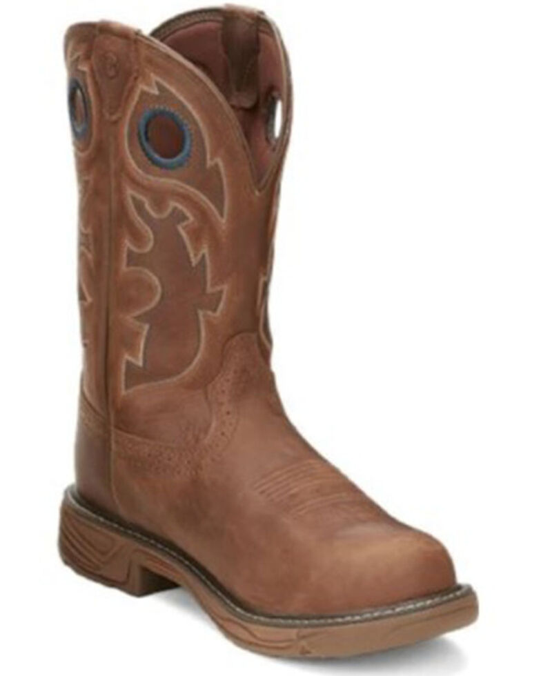 Justin Men's Rush Western Work Boots - Composite Toe, Brown, hi-res