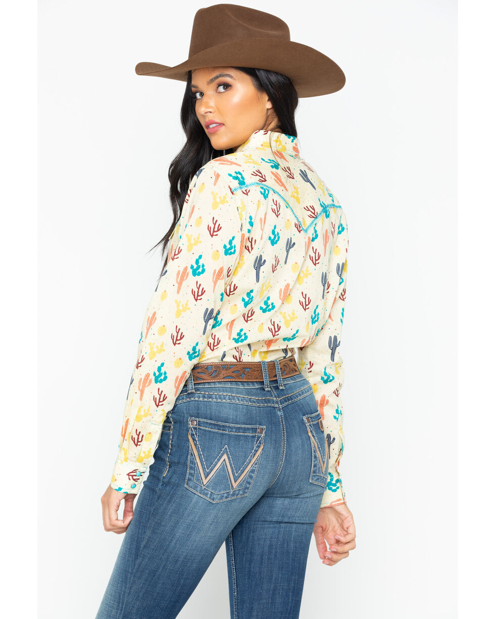 Wrangler Women's Multi-Color Cactus Long Sleeve Western Shirt, Ivory, hi-res