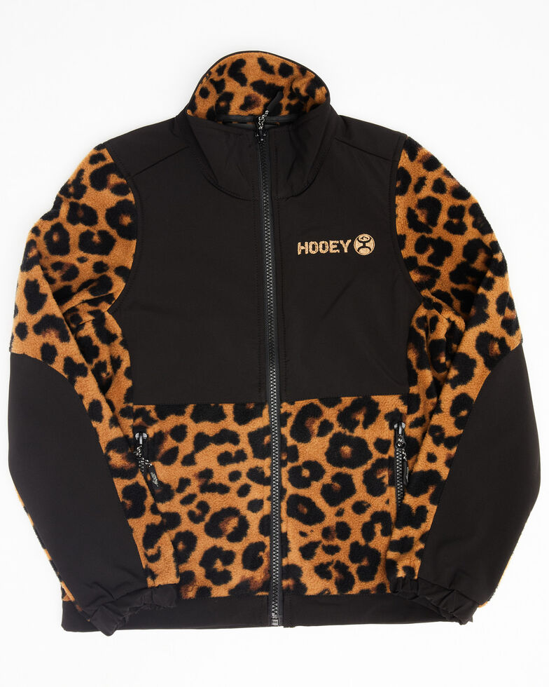 HOOey Girls' Cheetah Tech Fleece Softshell Jacket, Leopard, hi-res
