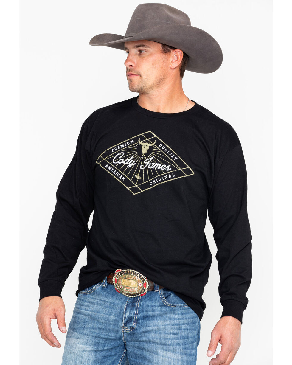 Cody James Men's Western Diamond Long Sleeve Shirt, Black, hi-res