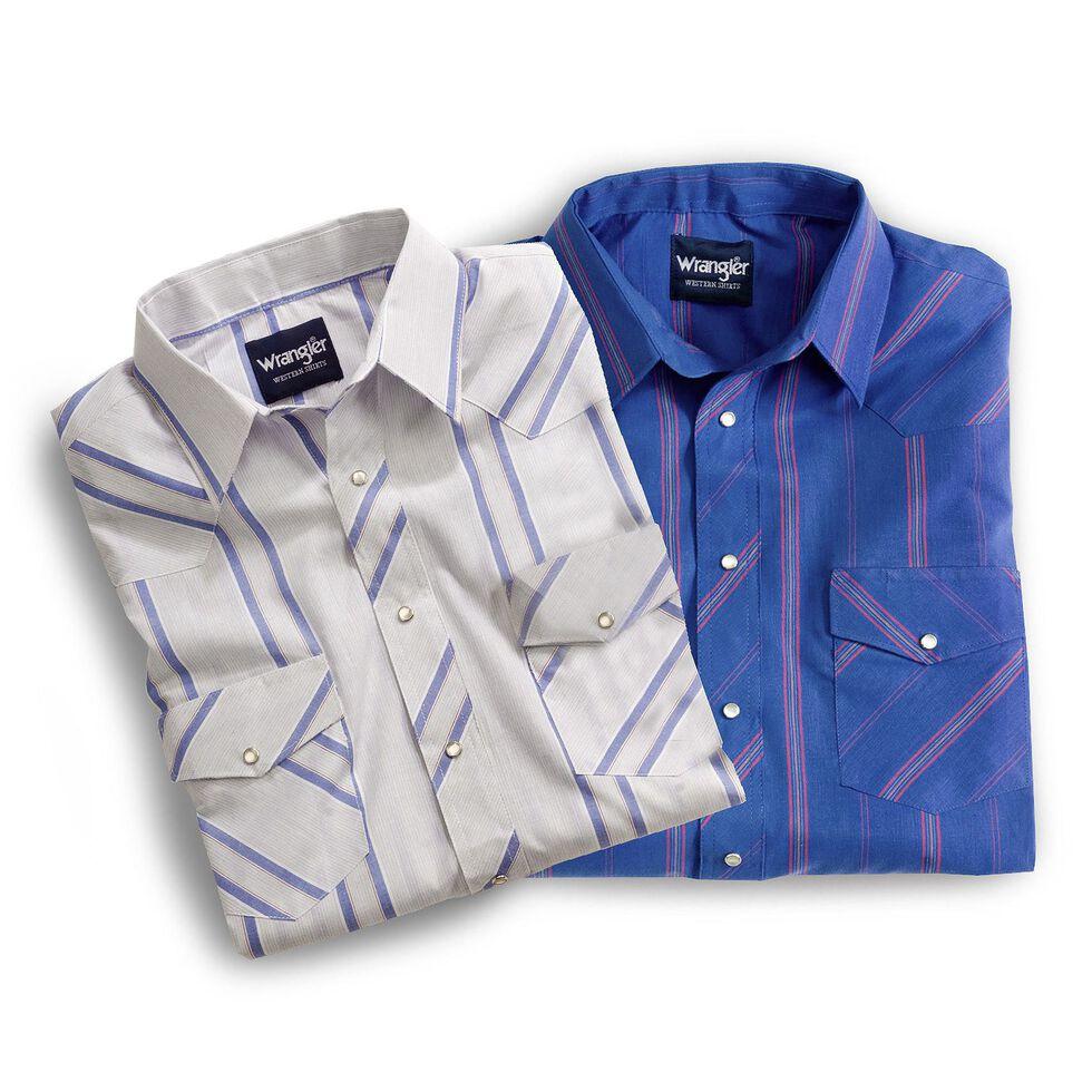 Wrangler Assorted Striped or Plaid Long Sleeve Classic Western Shirt - Big & Tall, Stripe, hi-res