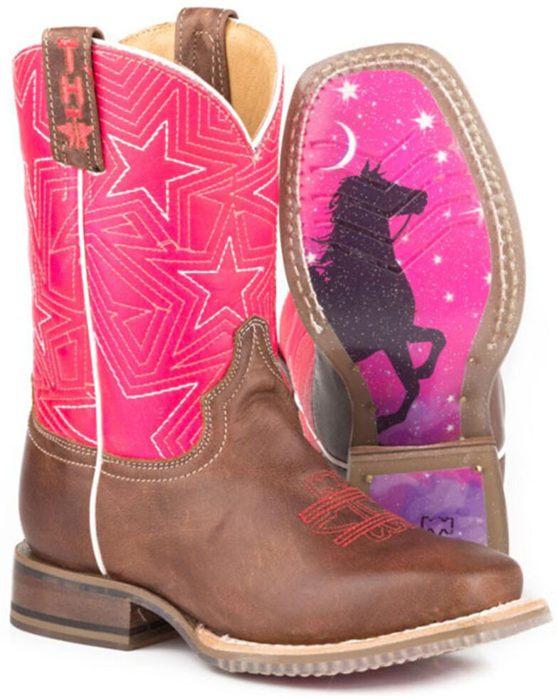 Tin Haul Toddler Girls' Puffy Stars Western Boots - Square Toe, Brown, hi-res