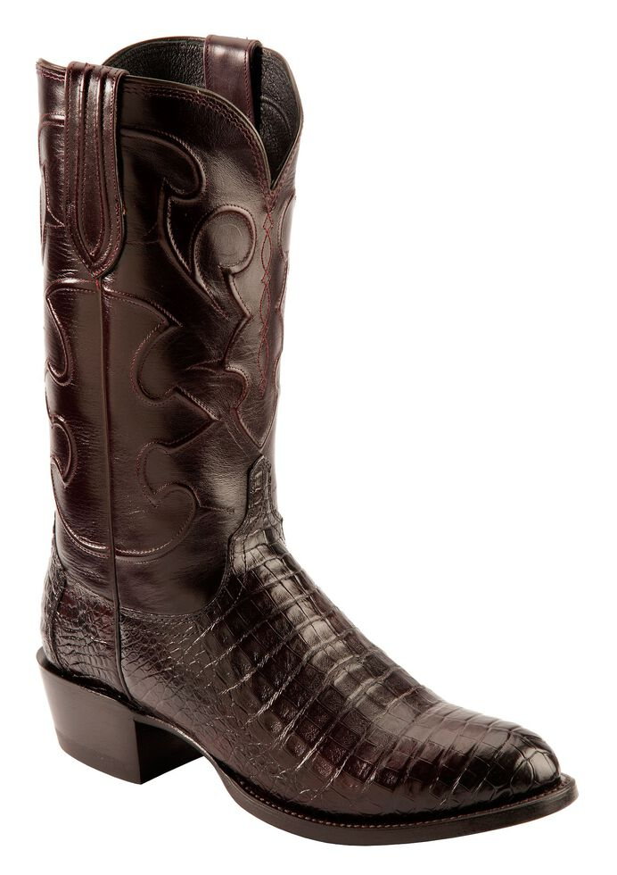 Lucchese Handmade 1883 Black Cherry Crocodile Belly Cowboy Boots - Medium Toe, Black Cherry, hi-res