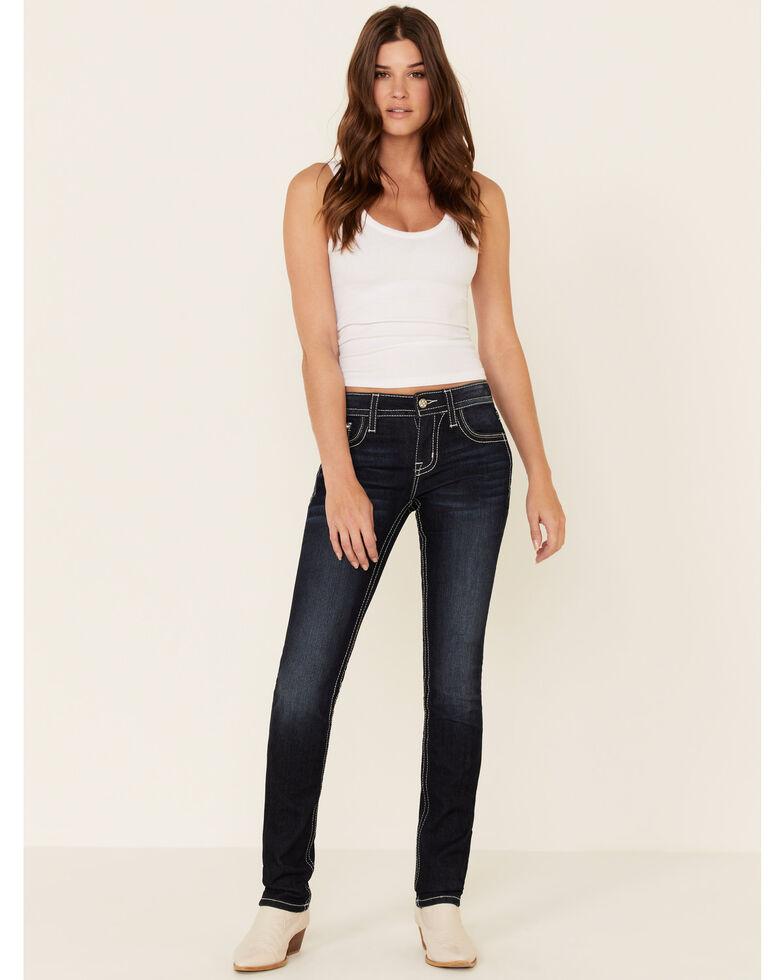 Miss Me Women's Aztec Cactus Straight Jeans, Dark Blue, hi-res