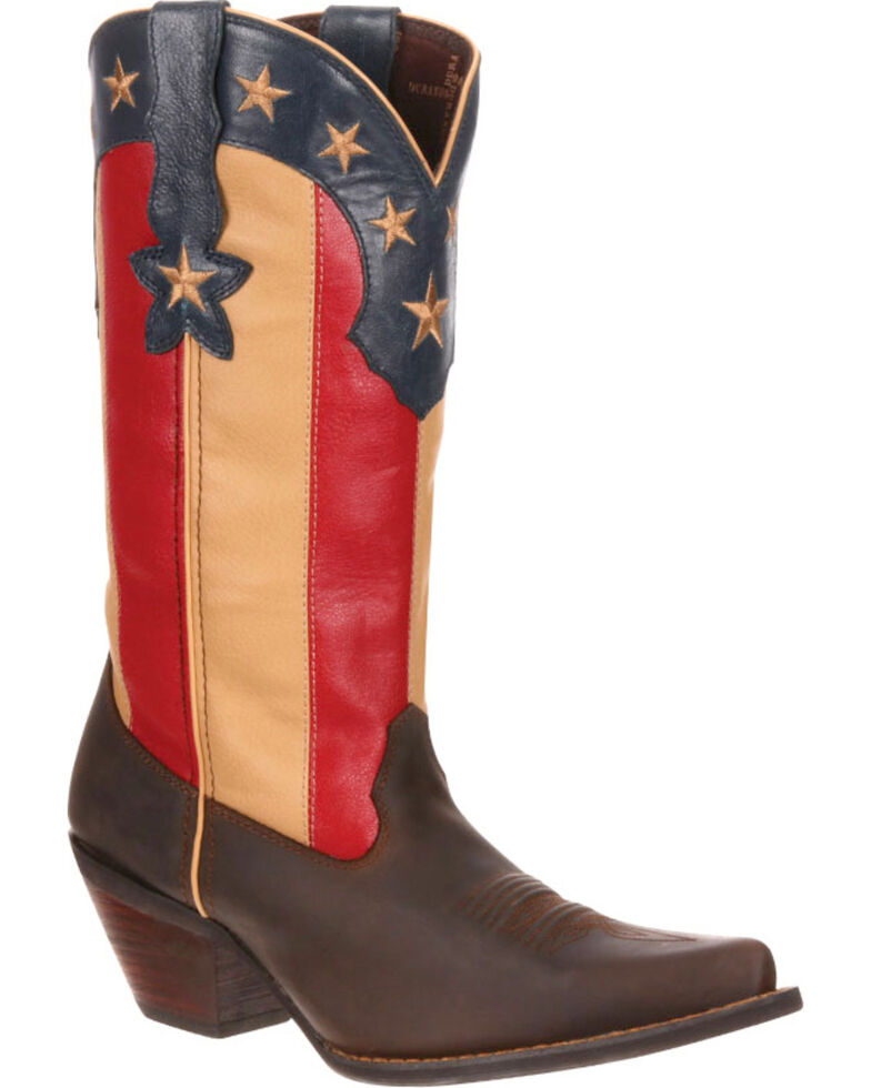 Crush By Durango Women's Stars & Stripes Boots - Snip Toe , Brown, hi-res