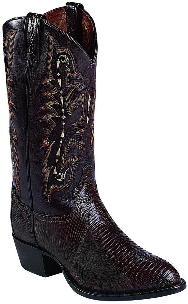 Tony Lama Felton Chocolate Lizard Exotic Boots - Medium Toe , Chocolate, hi-res