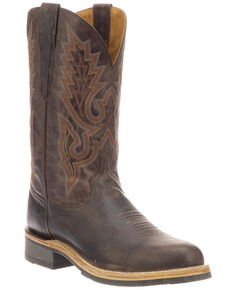 Lucchese Men's Rusty Western Boots - Medium Toe, Dark Brown, hi-res