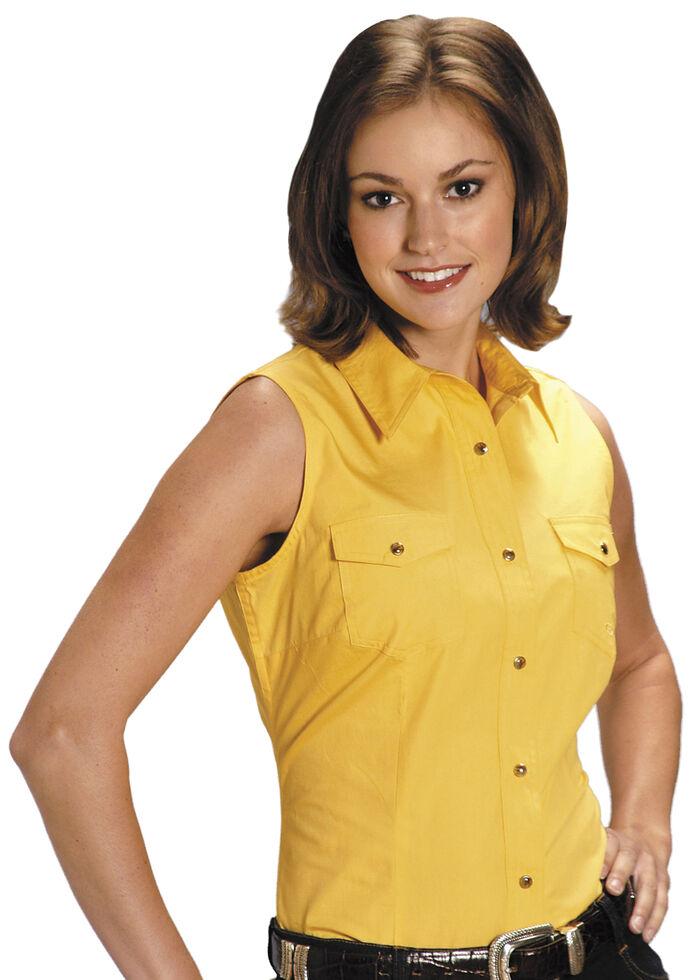 Roper Women's Stretch Poplin Sleeveless Shirt, Yellow, hi-res