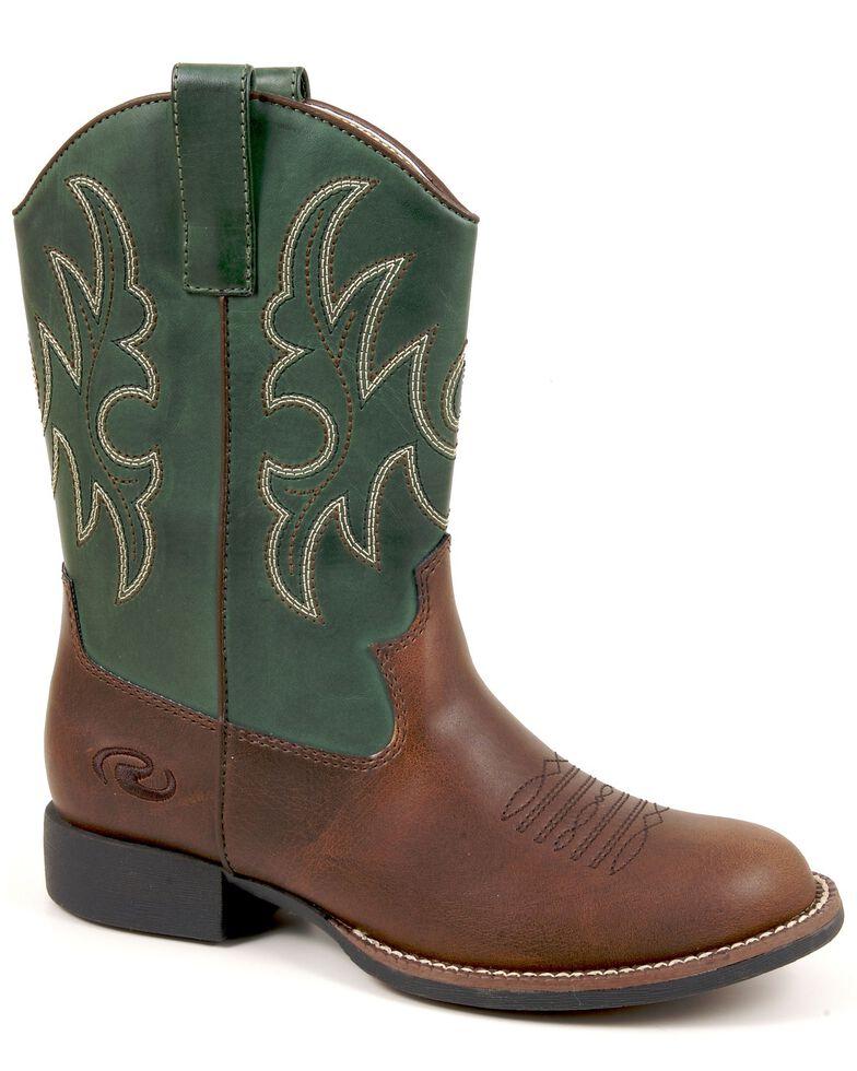 Roper Boys' Green & Brown Cowboy Boots, Brown, hi-res