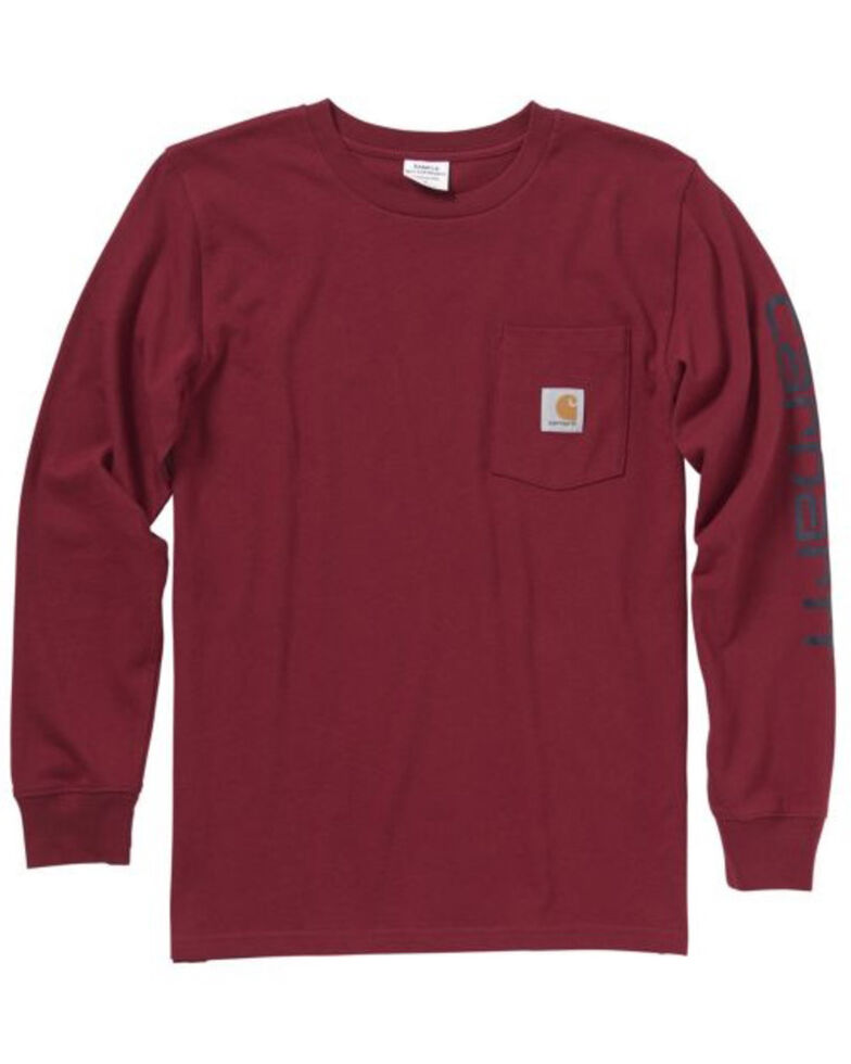 Carhartt Boys' Red Graphic Long Sleeve T-Shirt , Red, hi-res