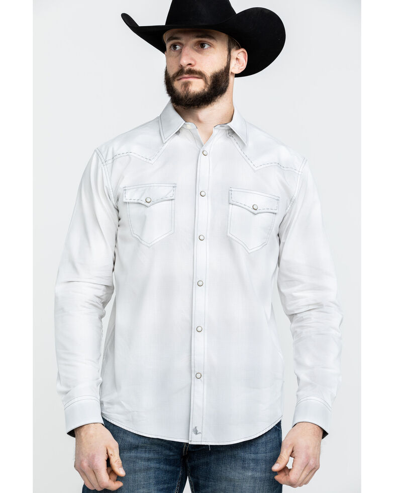 Cody James Men's Clear Flats Large Plaid Long Sleeve Western Shirt , White, hi-res