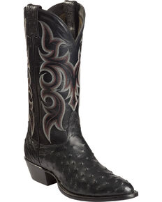 Nocona Full Quill Ostrich Cowboy Boots - Medium Toe, Black, hi-res