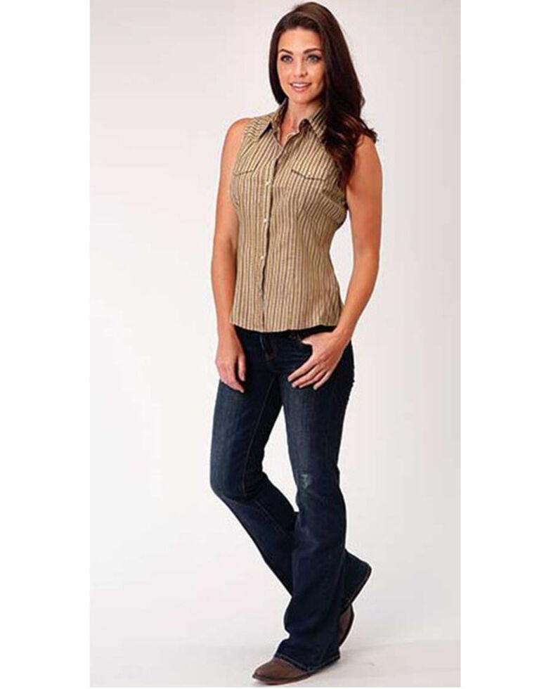 Roper Women's Brown Vintage Stripe Sleeveless Snap Western Shirt , Brown, hi-res