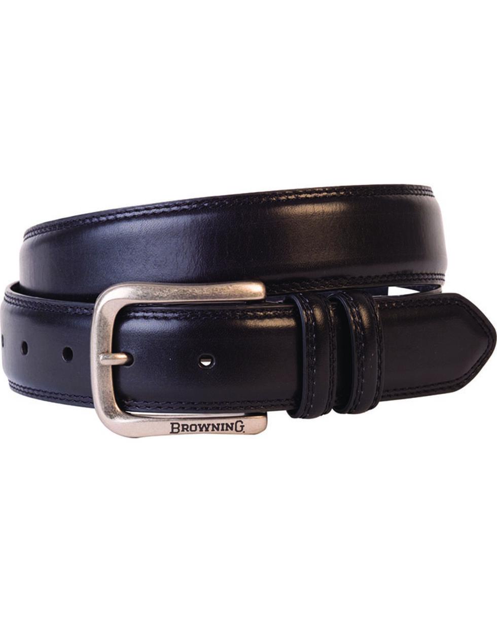 Browning Men's Black Embroidered Leather Belt , Black, hi-res