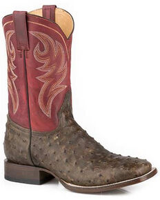 Roper Men's Tan Diesel Ranch Exotic Ostrich Leather Western Boots - Wide Square Toe, Tan, hi-res