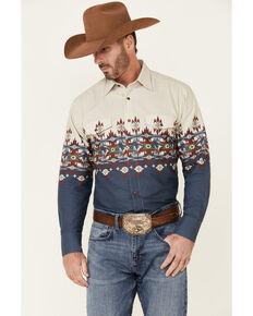 Panhandle Men's Cowboy Aztec Border Print Long Sleeve Snap Western Shirt , Navy, hi-res