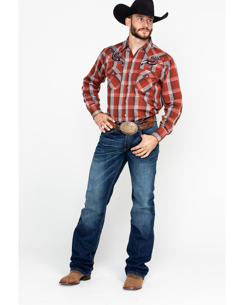 Ely Cattleman Men's Embroidered Plaid Long Sleeve Western Shirt  , Rust Copper, hi-res