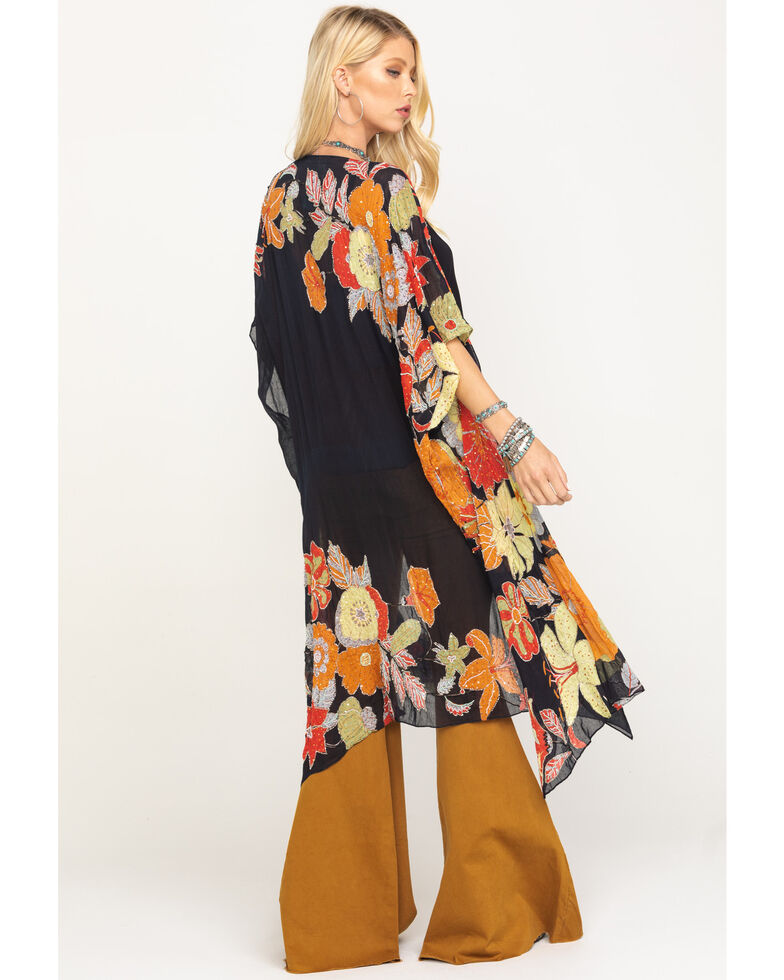 Aratta Women's Black Floral Beaded Kimono, Black, hi-res