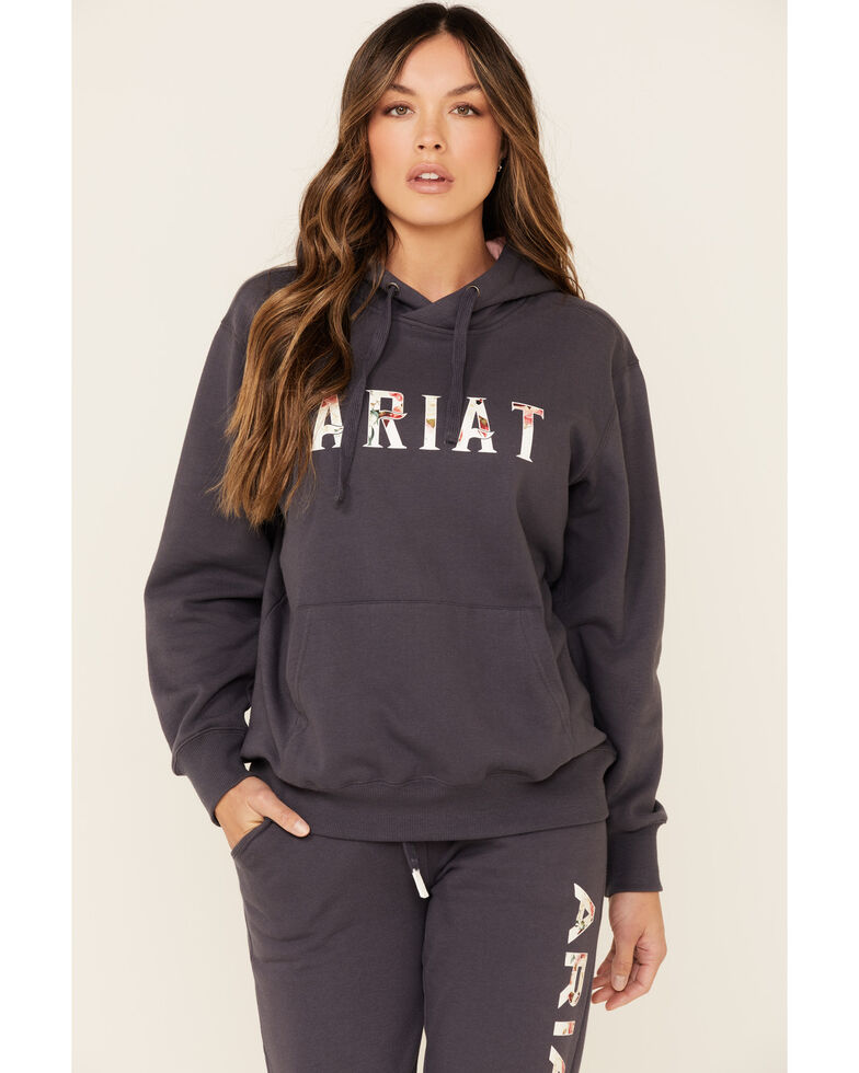 Ariat Women's Navy R.E.A.L Floral Logo Graphic Hooded Sweatshirt , Navy, hi-res