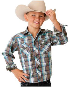 Roper Boys' Brown Plaid Double Print Western Shirt , Brown, hi-res